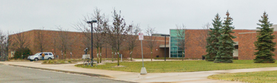 Large brick high school in South Lyon Michigan